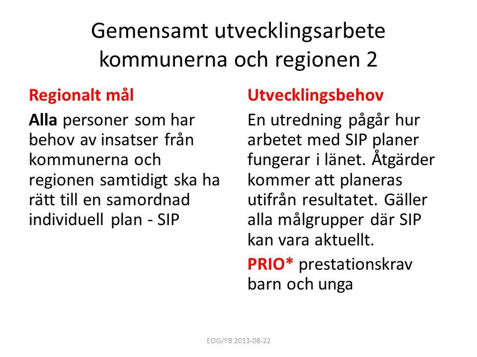 Gemensamt utvecklingsarbete kommunerna och regionen 2
