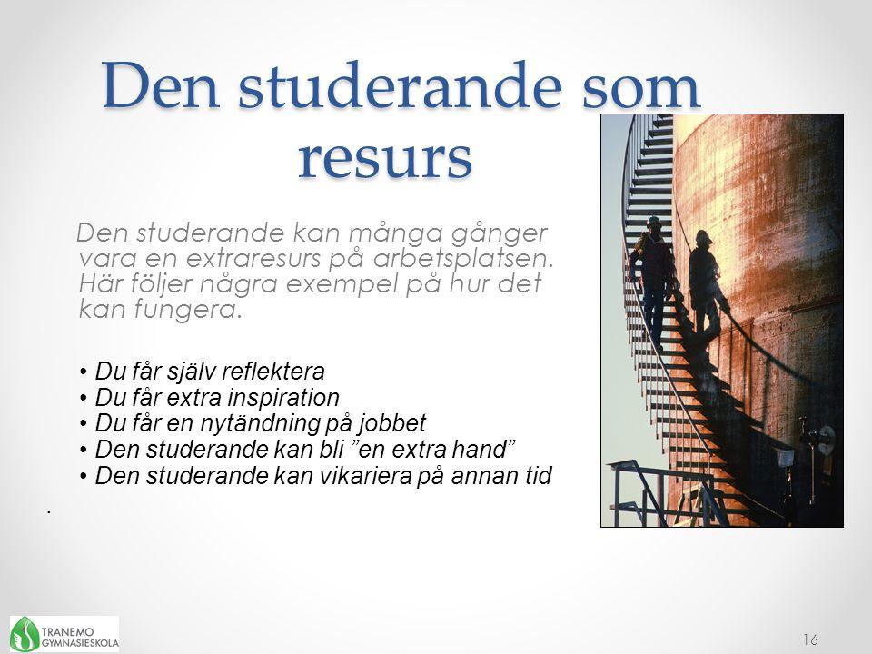 Den studerande som resurs