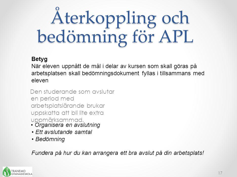 Återkoppling och bedömning för APL