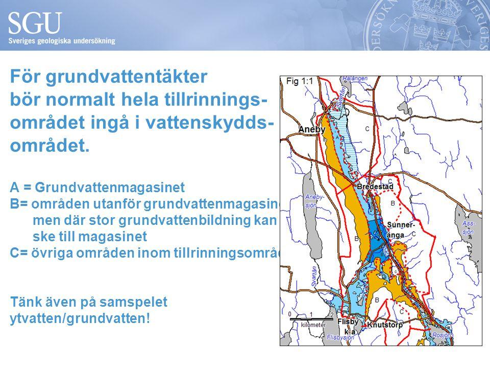 För grundvattentäkter bör normalt hela tillrinnings- området ingå i vattenskydds- området.