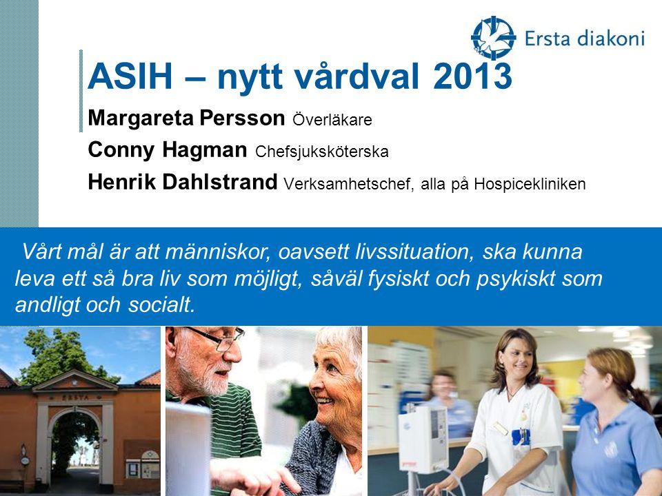 ASIH – nytt vårdval 2013 Margareta Persson Överläkare Conny Hagman Chefsjuksköterska Henrik Dahlstrand Verksamhetschef, alla på Hospicekliniken
