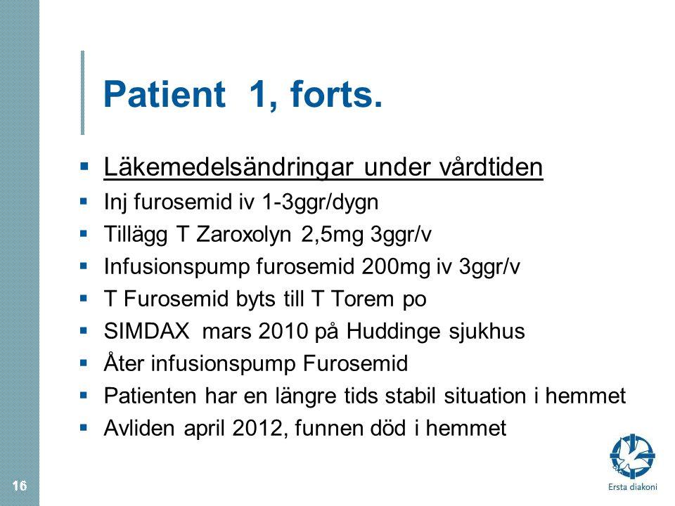 Patient 1, forts. Läkemedelsändringar under vårdtiden