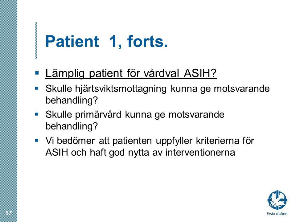 Patient 1, forts. Lämplig patient för vårdval ASIH