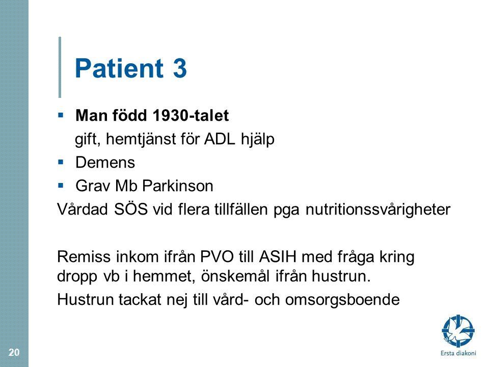 Patient 3 Man född 1930-talet gift, hemtjänst för ADL hjälp Demens