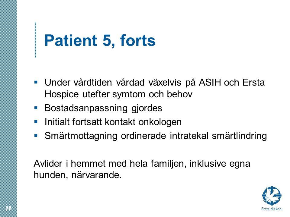 Patient 5, forts Under vårdtiden vårdad växelvis på ASIH och Ersta Hospice utefter symtom och behov.
