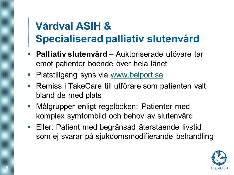 Vårdval ASIH & Specialiserad palliativ slutenvård
