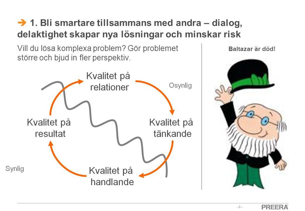 1. Bli smartare tillsammans med andra – dialog, delaktighet skapar nya lösningar och minskar risk