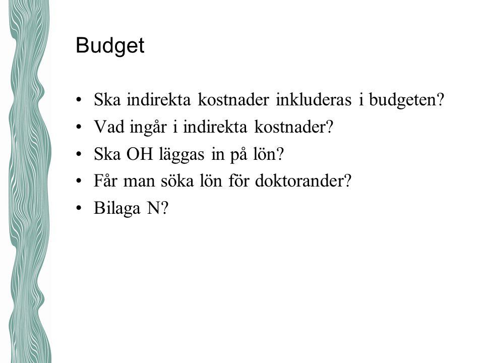 Budget Ska indirekta kostnader inkluderas i budgeten