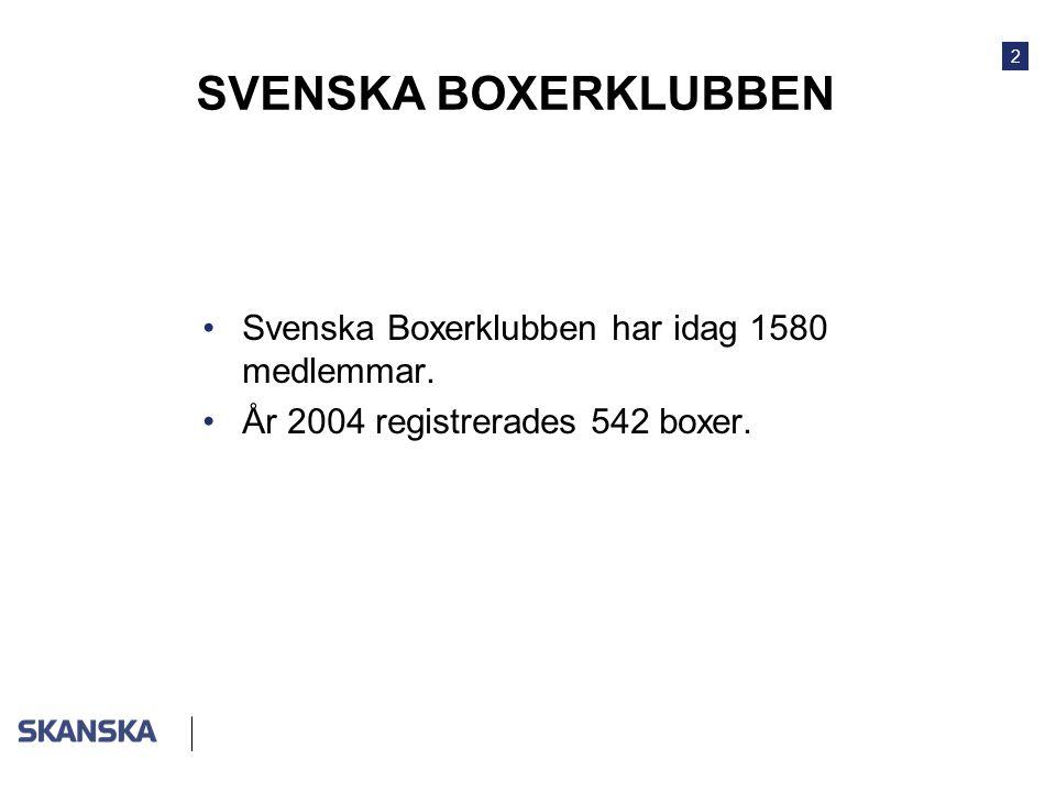 SVENSKA BOXERKLUBBEN Svenska Boxerklubben har idag 1580 medlemmar.