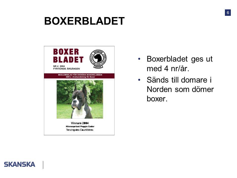 BOXERBLADET Boxerbladet ges ut med 4 nr/år.