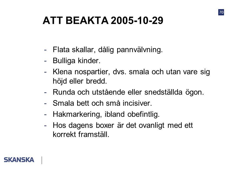 ATT BEAKTA 2005-10-29 Flata skallar, dålig pannvälvning.