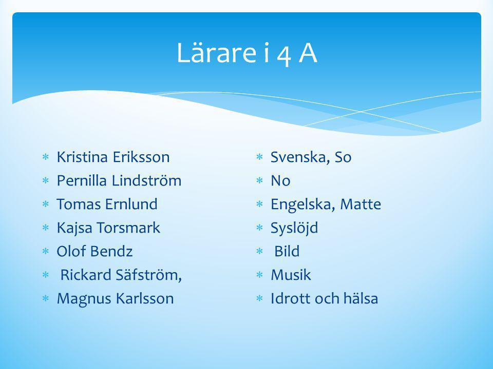 Lärare i 4 A Kristina Eriksson Pernilla Lindström Tomas Ernlund