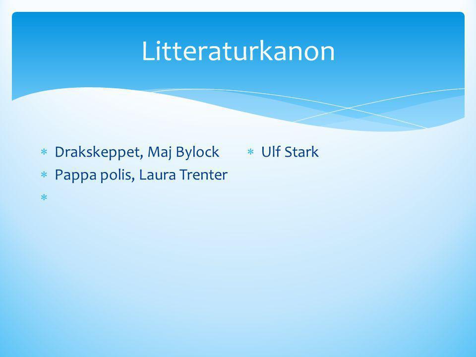 Litteraturkanon Drakskeppet, Maj Bylock Pappa polis, Laura Trenter