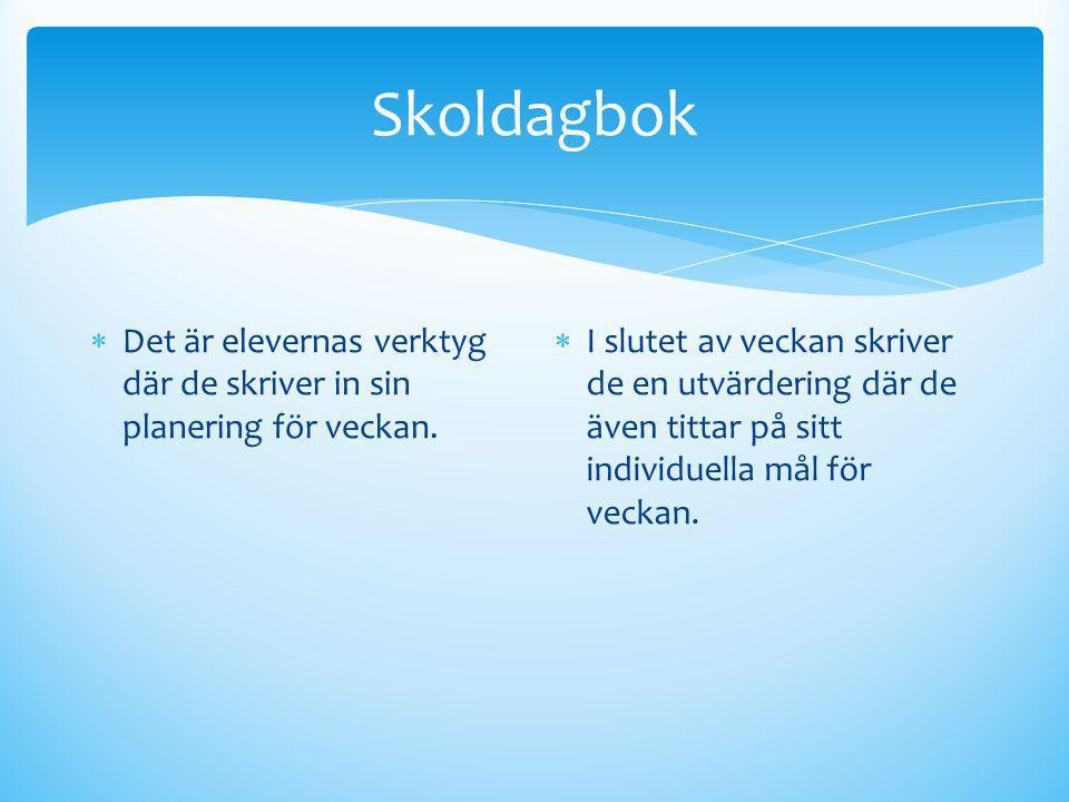 Skoldagbok Det är elevernas verktyg där de skriver in sin planering för veckan.
