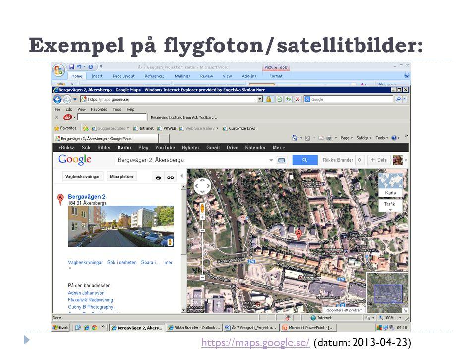 Exempel på flygfoton/satellitbilder: