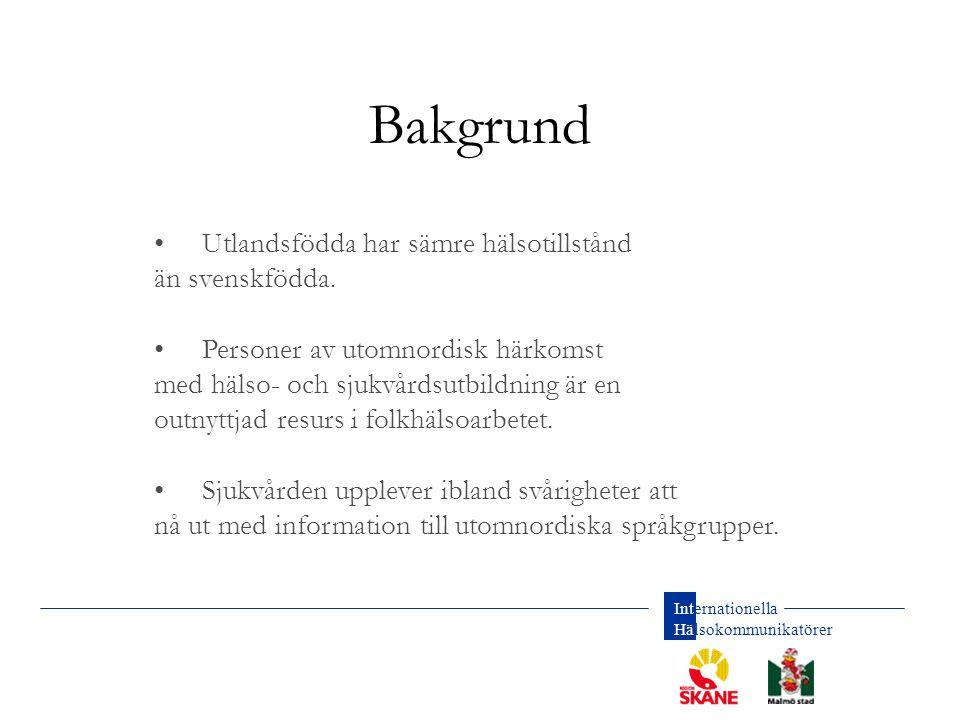 Bakgrund • Utlandsfödda har sämre hälsotillstånd än svenskfödda.