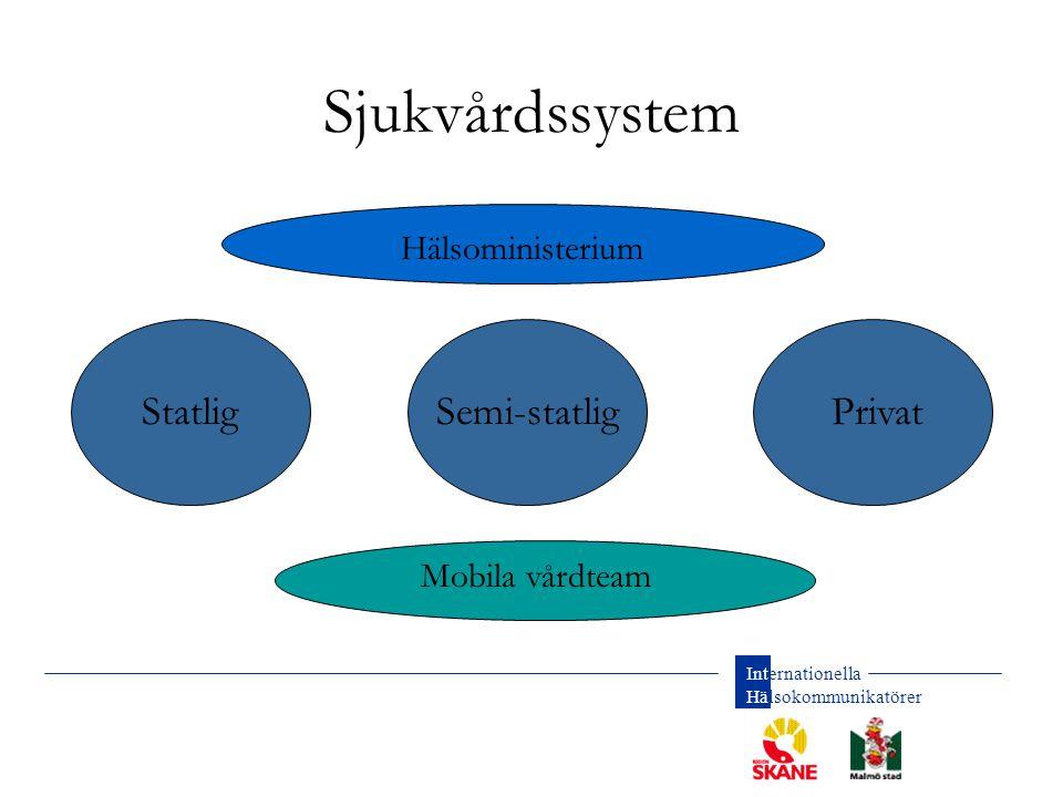Sjukvårdssystem Statlig Semi-statlig Privat Hälsoministerium