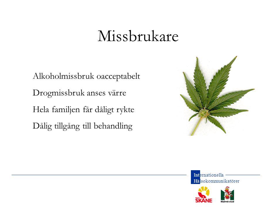 Missbrukare Alkoholmissbruk oacceptabelt Drogmissbruk anses värre