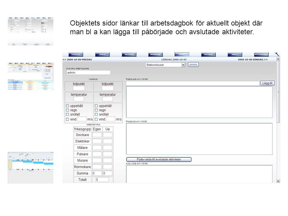 Objektets sidor länkar till arbetsdagbok för aktuellt objekt där man bl a kan lägga till påbörjade och avslutade aktiviteter.