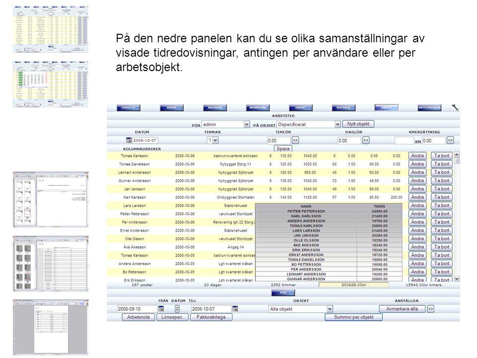 På den nedre panelen kan du se olika samanställningar av visade tidredovisningar, antingen per användare eller per arbetsobjekt.