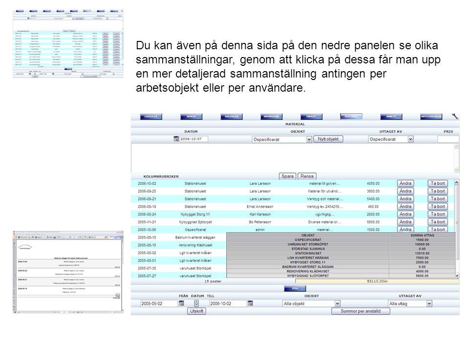 Du kan även på denna sida på den nedre panelen se olika sammanställningar, genom att klicka på dessa får man upp en mer detaljerad sammanställning antingen per arbetsobjekt eller per användare.