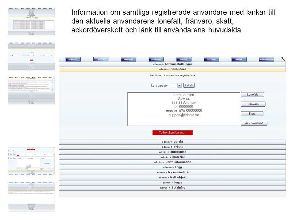 Information om samtliga registrerade användare med länkar till den aktuella användarens lönefält, frånvaro, skatt, ackordöverskott och länk till användarens huvudsida