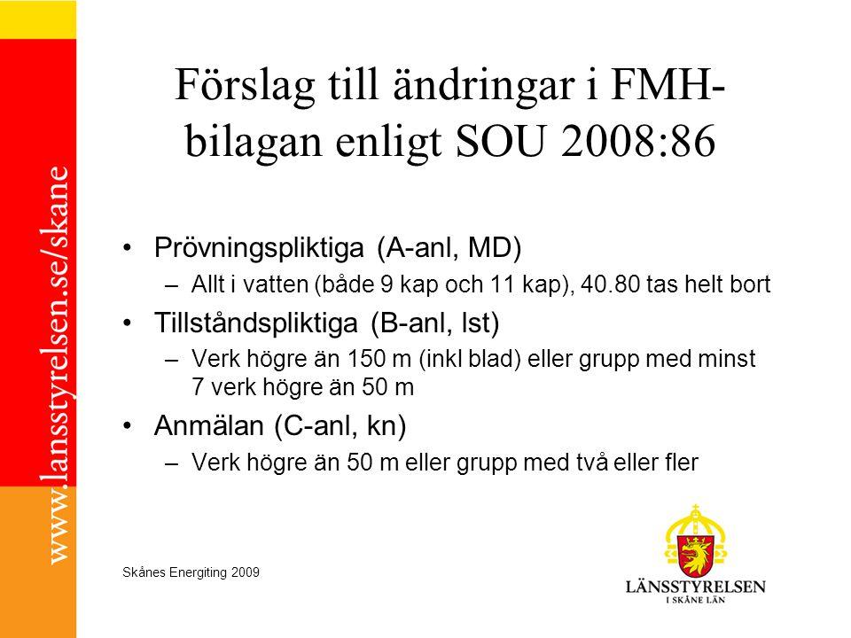 Förslag till ändringar i FMH-bilagan enligt SOU 2008:86
