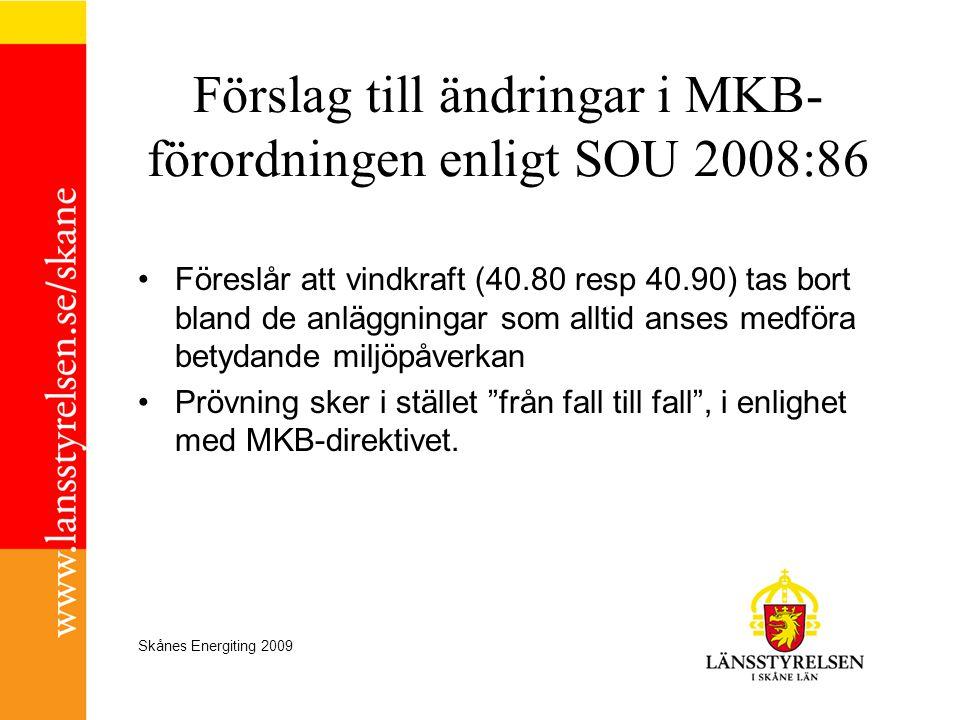 Förslag till ändringar i MKB-förordningen enligt SOU 2008:86