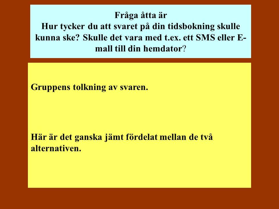 Fråga åtta är Hur tycker du att svaret på din tidsbokning skulle kunna ske Skulle det vara med t.ex. ett SMS eller E-mall till din hemdator