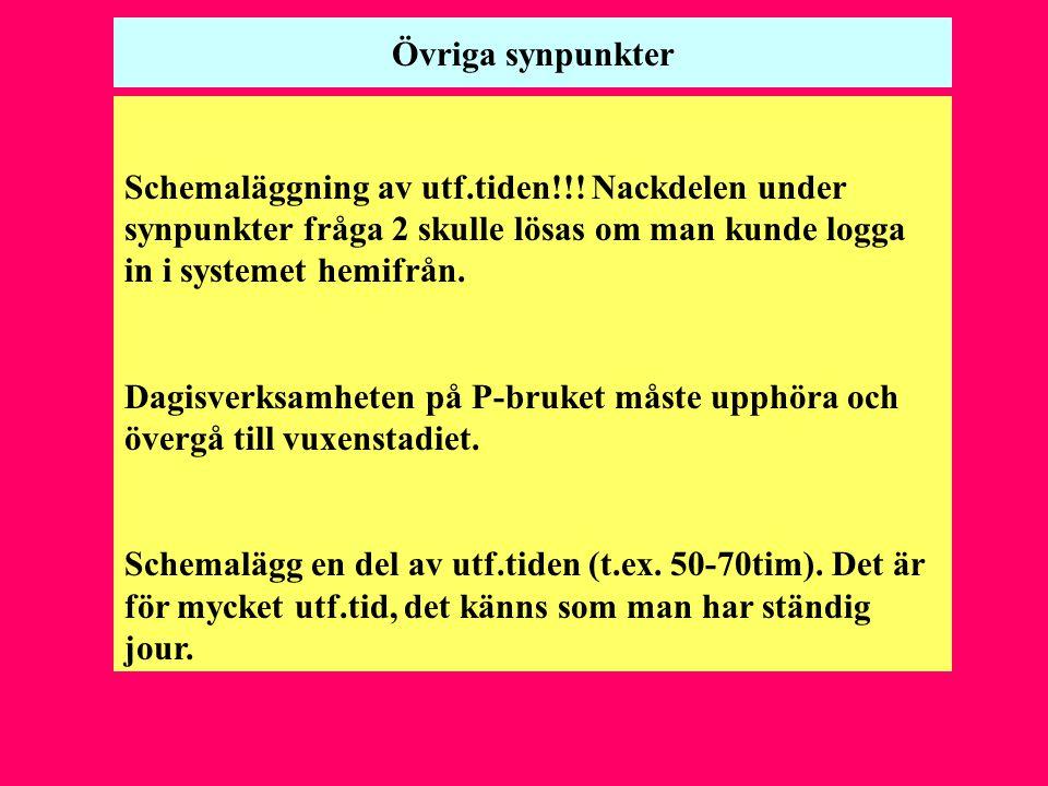 Övriga synpunkter Schemaläggning av utf.tiden!!! Nackdelen under synpunkter fråga 2 skulle lösas om man kunde logga in i systemet hemifrån.