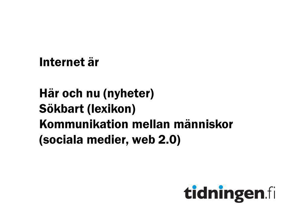 Internet är Här och nu (nyheter) Sökbart (lexikon) Kommunikation mellan människor.
