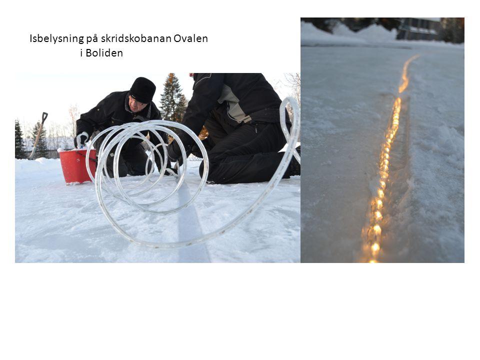Isbelysning på skridskobanan Ovalen i Boliden
