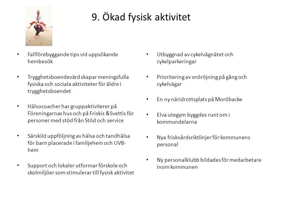 9. Ökad fysisk aktivitet Fallförebyggande tips vid uppsökande hembesök