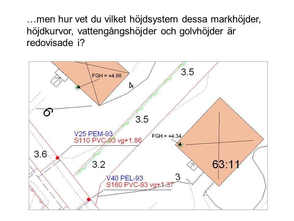 …men hur vet du vilket höjdsystem dessa markhöjder, höjdkurvor, vattengångshöjder och golvhöjder är redovisade i