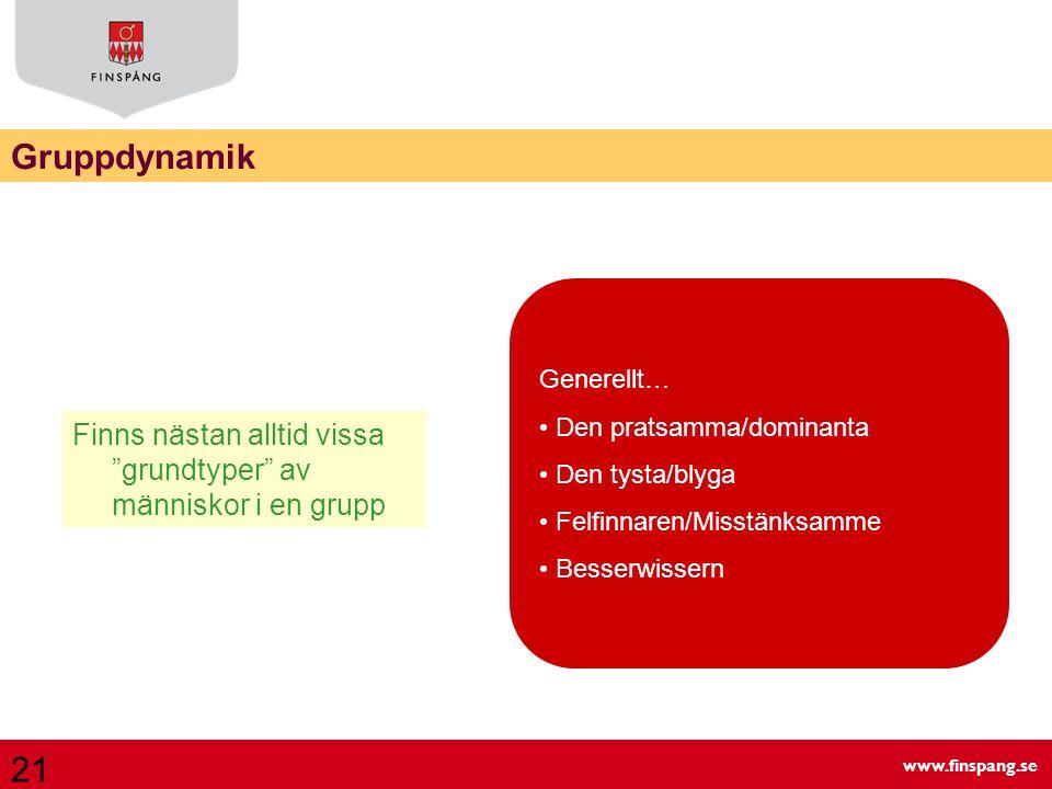 Gruppdynamik Generellt… Den pratsamma/dominanta. Den tysta/blyga. Felfinnaren/Misstänksamme. Besserwissern.