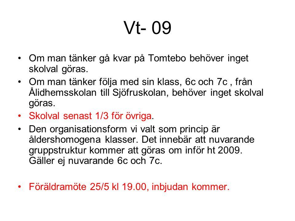 Vt- 09 Om man tänker gå kvar på Tomtebo behöver inget skolval göras.