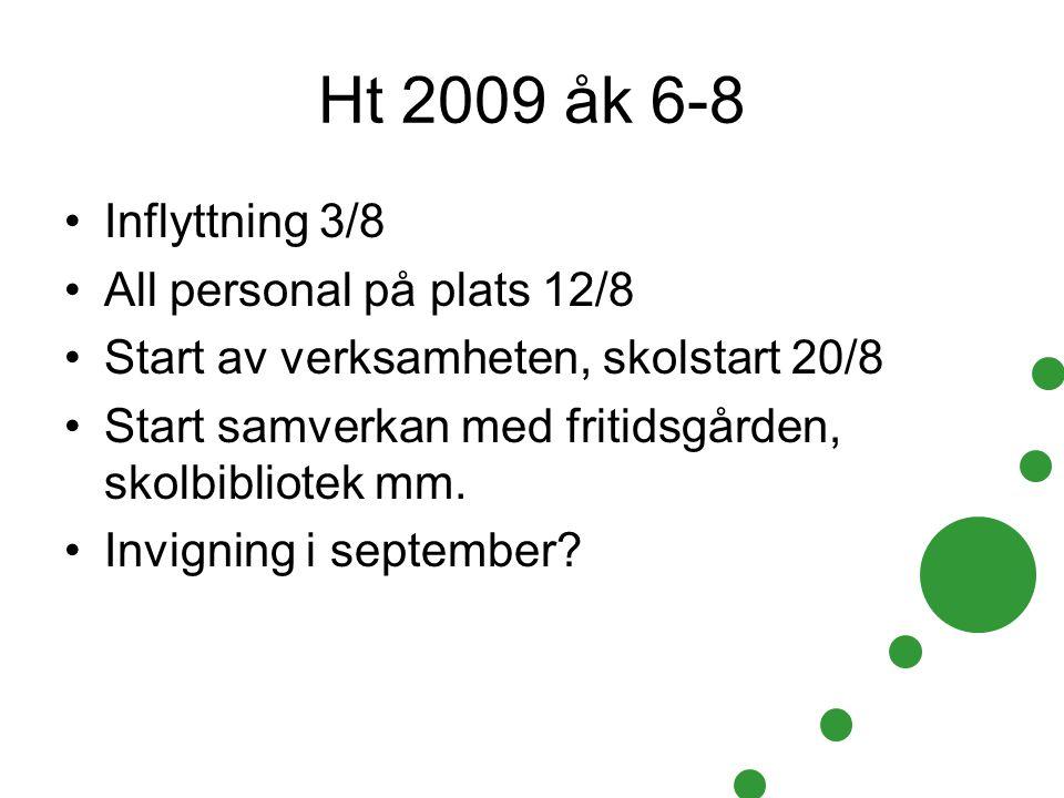 Ht 2009 åk 6-8 Inflyttning 3/8 All personal på plats 12/8