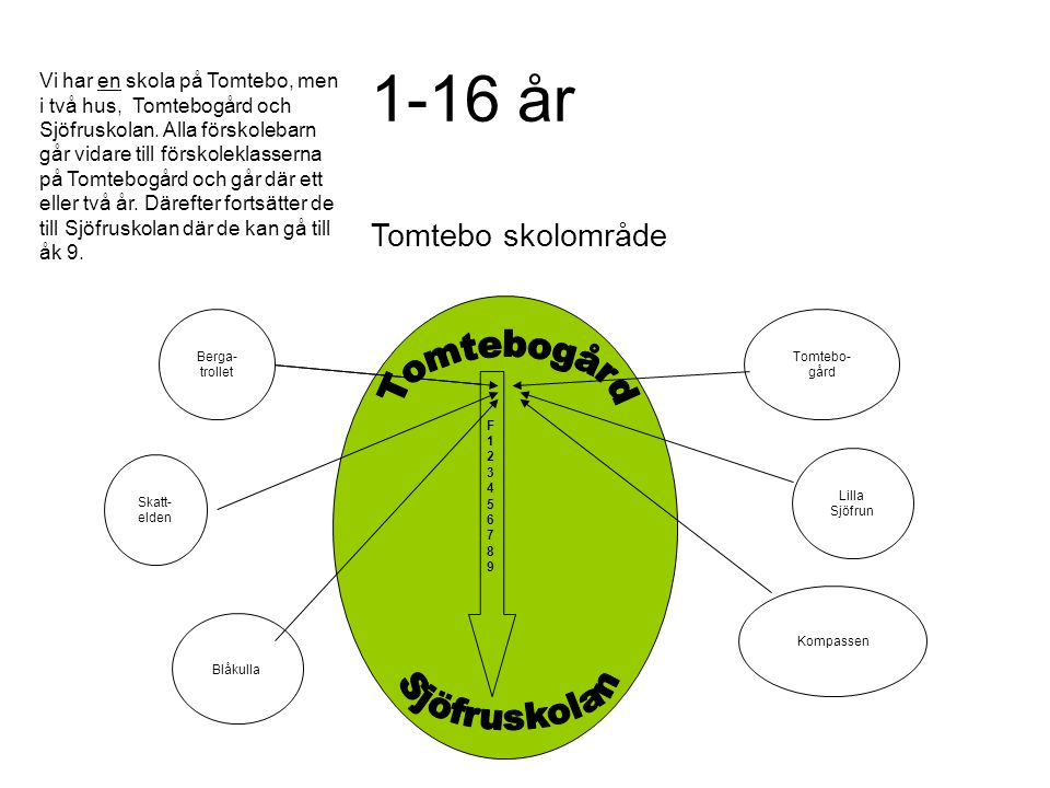 1-16 år Tomtebogård Sjöfruskolan Tomtebo skolområde