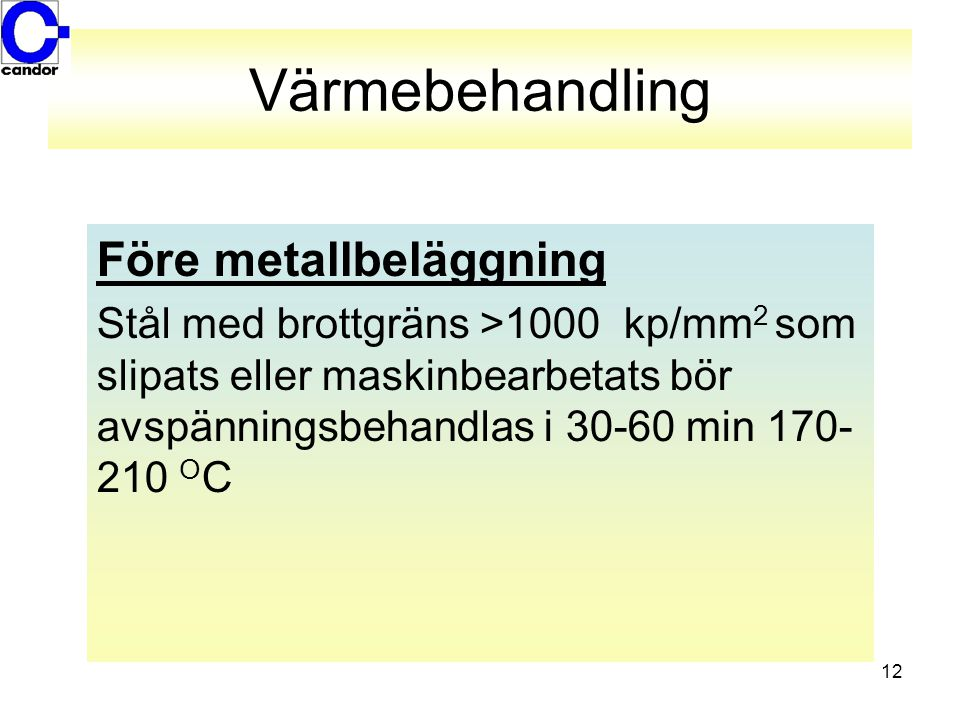 Värmebehandling Före metallbeläggning
