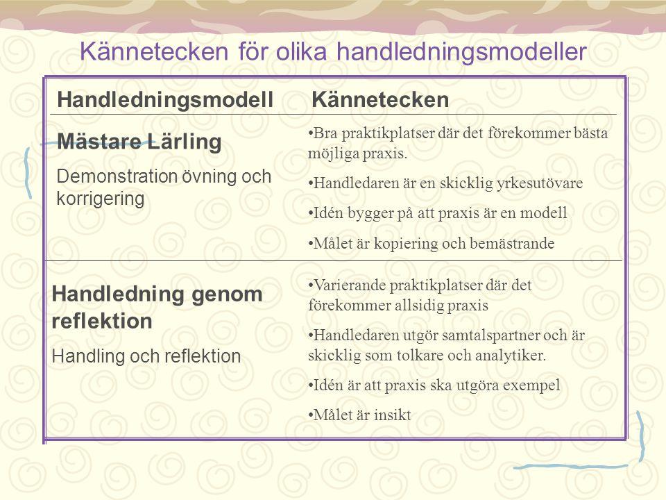 Kännetecken för olika handledningsmodeller