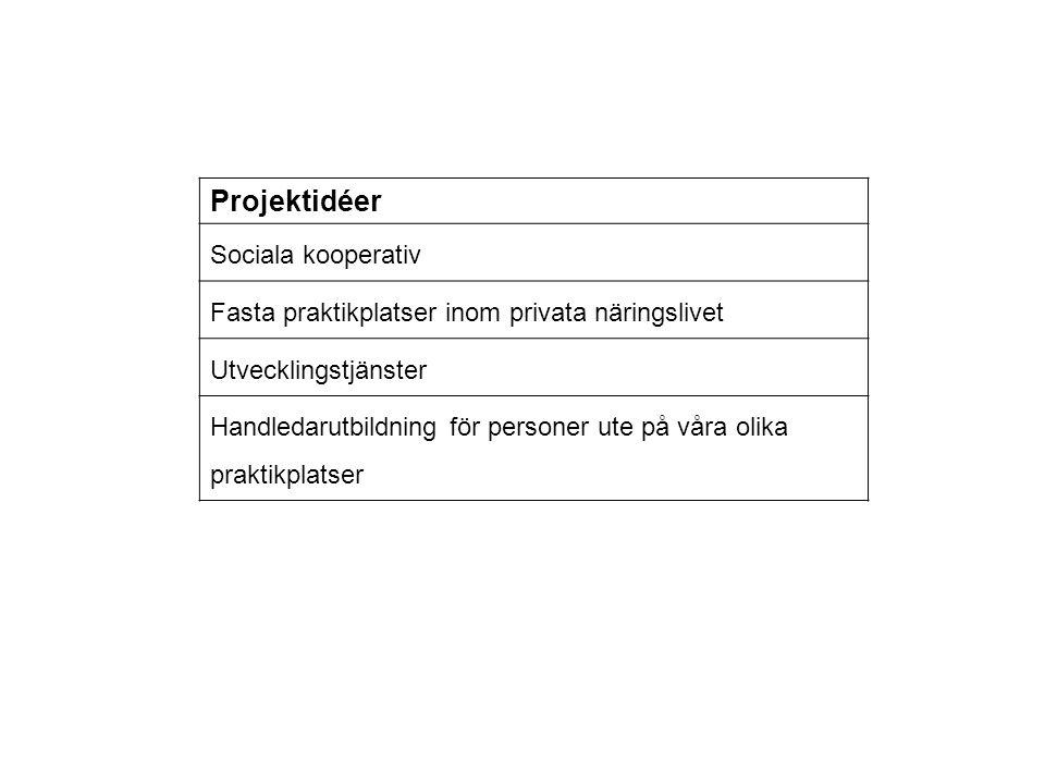 Projektidéer Sociala kooperativ