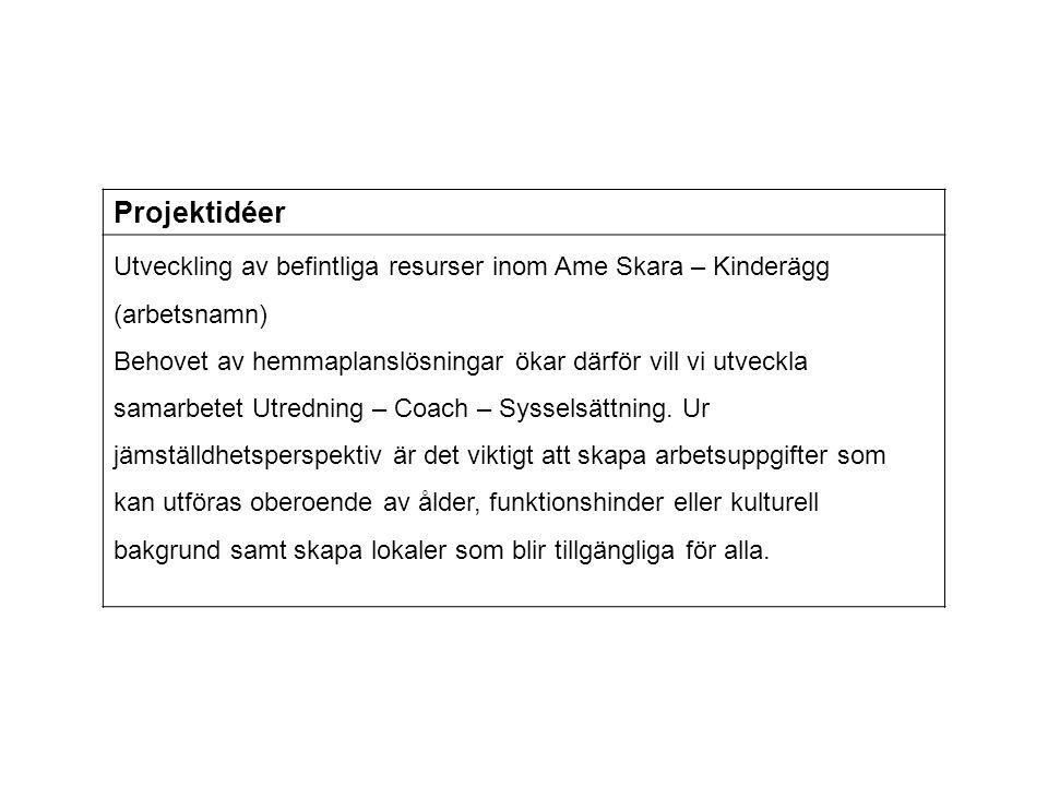 Projektidéer Utveckling av befintliga resurser inom Ame Skara – Kinderägg (arbetsnamn)