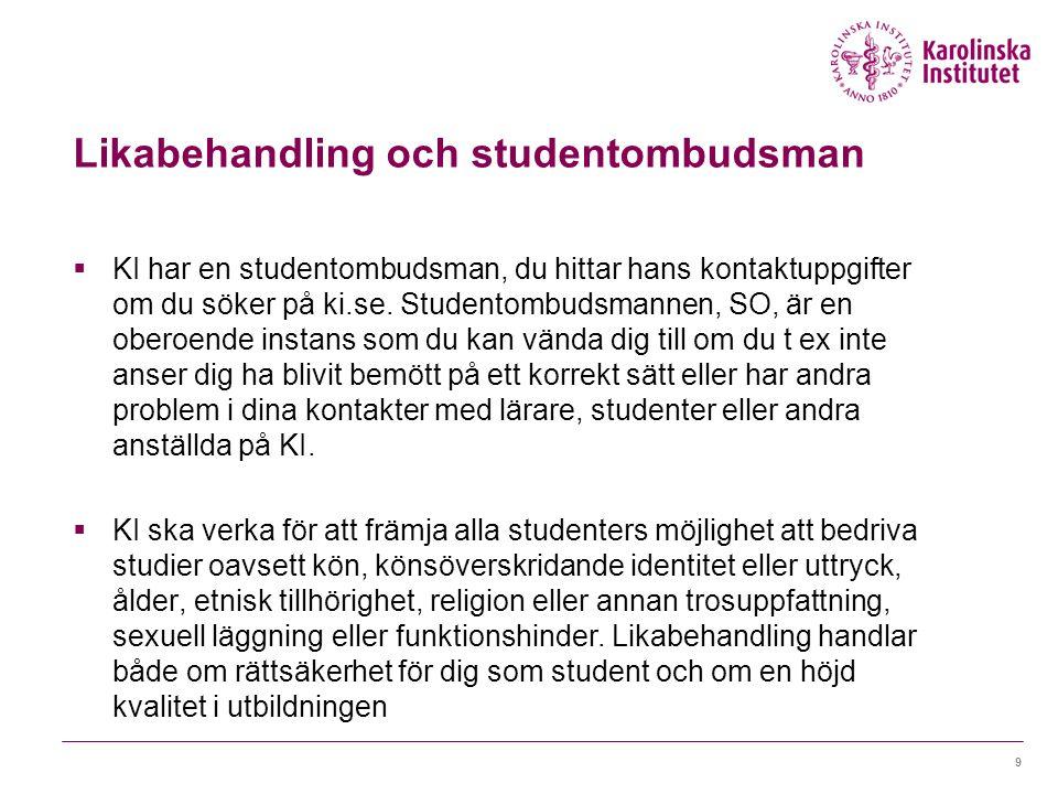 Likabehandling och studentombudsman
