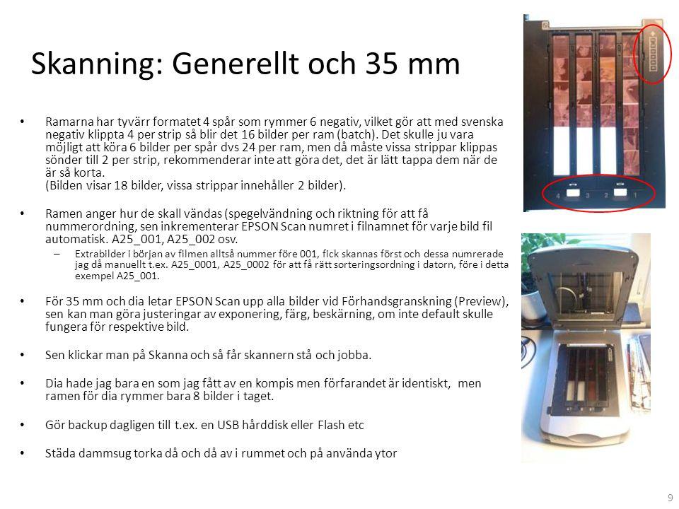 Skanning: Generellt och 35 mm