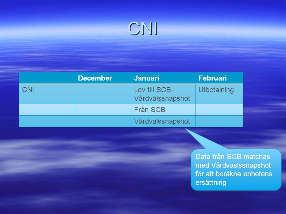 CNI December Januari Februari CNI Lev till SCB, Vårdvalssnapshot