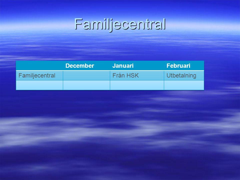 Familjecentral December Januari Februari Familjecentral Från HSK