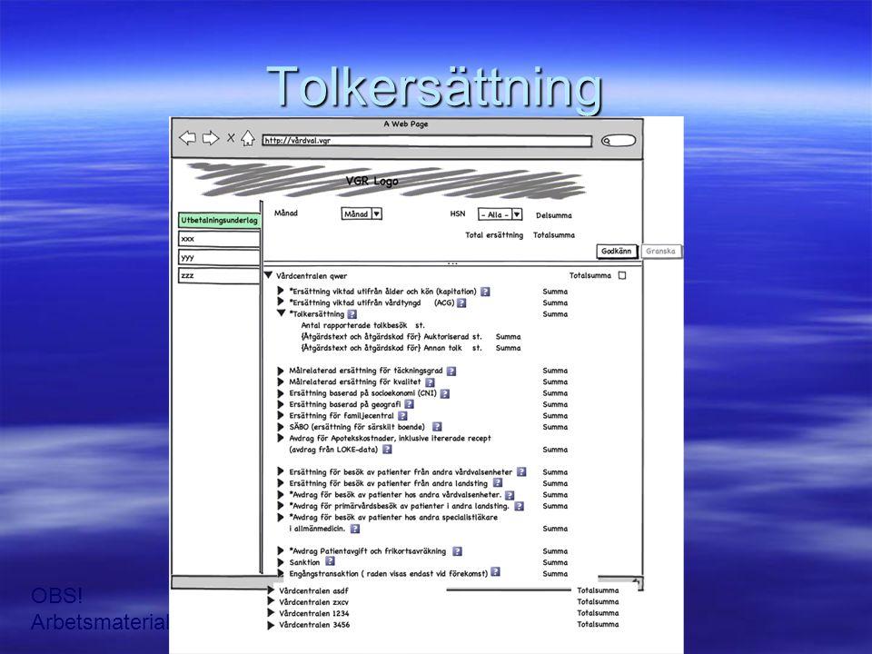 Tolkersättning OBS! Arbetsmaterial