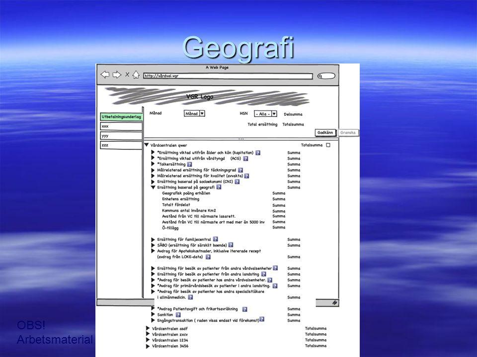 Geografi OBS! Arbetsmaterial