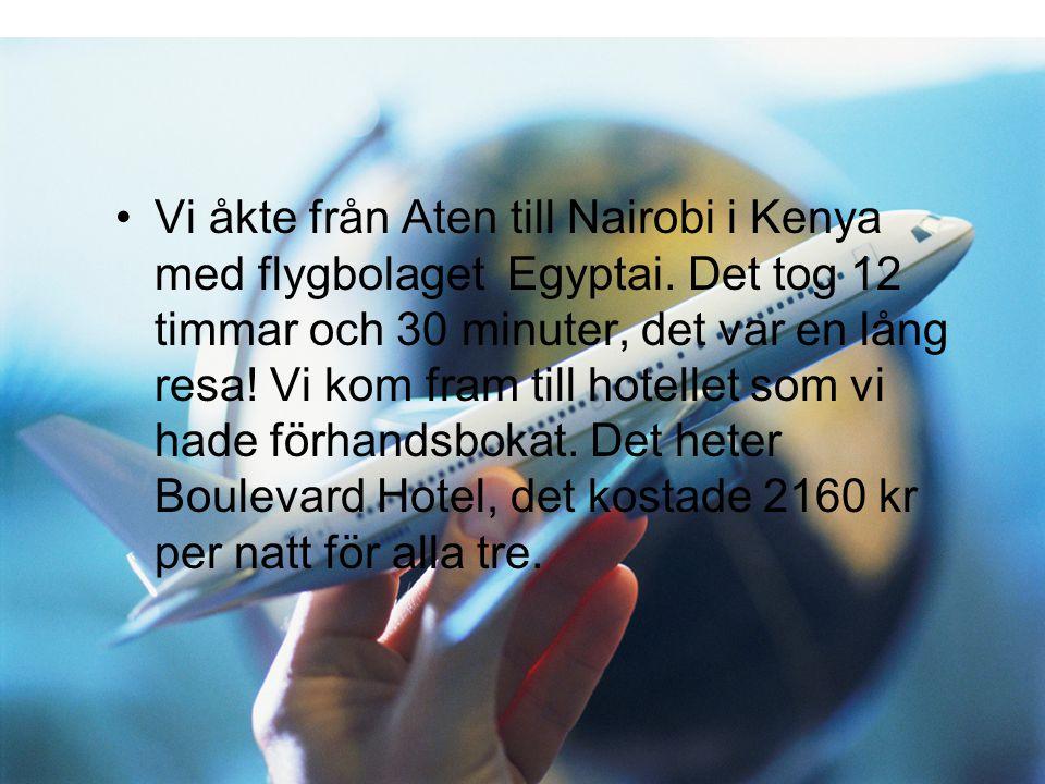 Vi åkte från Aten till Nairobi i Kenya med flygbolaget Egyptai