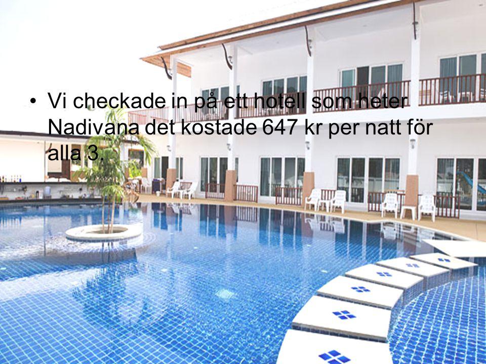 Vi checkade in på ett hotell som heter Nadivana det kostade 647 kr per natt för alla 3.